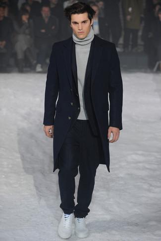 Traje negro abrigo gris