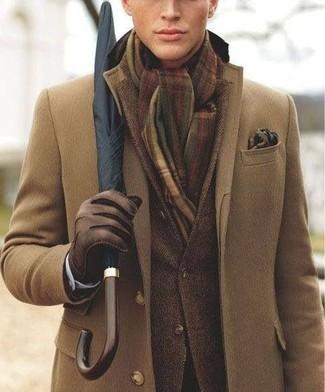 Abrigo largo cafe hombre