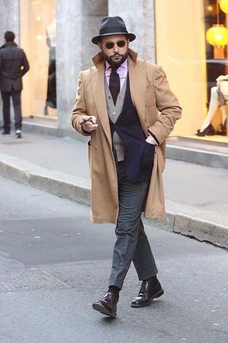 Camisa de manga larga de rayas verticales morado de Moschino