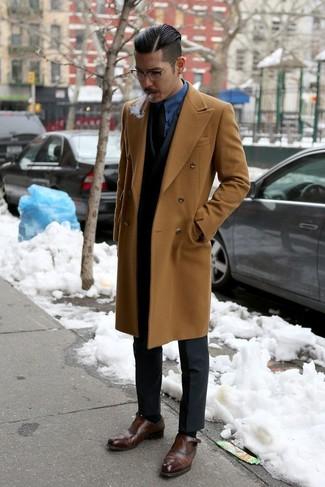 d40cf91a81 ... Look de moda  Abrigo largo marrón claro