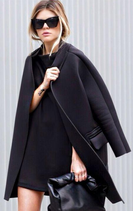 1def3e03dd6 De Look Moda Abrigo Recto Sobre Negro Vestido Cartera 1CwqdnOCS