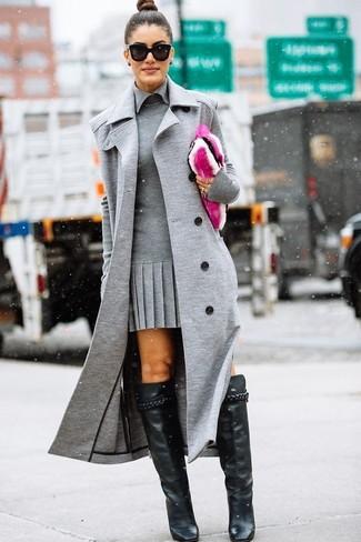 Moda Vestido Sin De Gris Botas Tubo Abrigo Mangas Look Bn5TwqxK