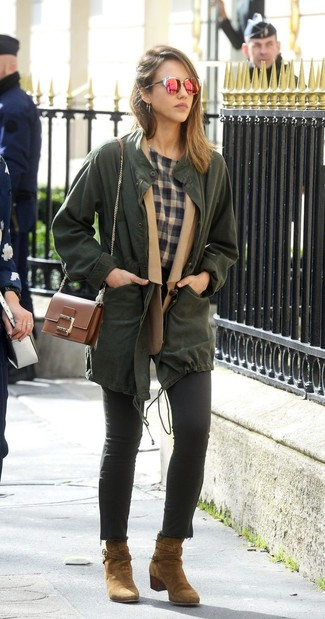 How to wear: dark green anorak, tan wool blazer, grey plaid crew-neck t-shirt, black skinny jeans