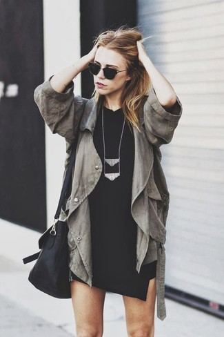 How to wear: olive anorak, black bodycon dress, black leather crossbody bag, black necklace