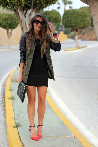 How to wear: olive anorak, black bodycon dress, hot pink suede pumps, black studded leather clutch