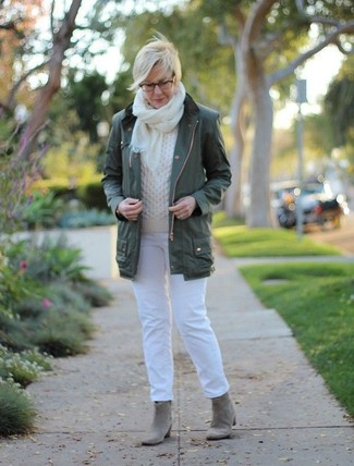 How to wear: dark green anorak, white cable sweater, white jeans, grey suede ankle boots