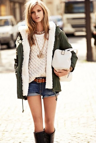 How to wear: dark green anorak, beige cable sweater, navy denim shorts, black leather knee high boots