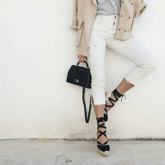 How to wear: beige anorak, grey vertical striped dress shirt, white skinny jeans, black espadrilles