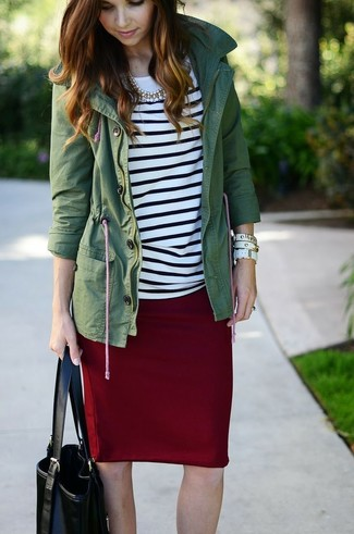 How to wear: dark green anorak, white and black horizontal striped long sleeve t-shirt, burgundy pencil skirt, black leather tote bag