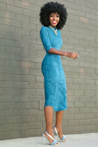 Light Blue Bodycon Dress Outfits: For To put together a casual outfit with a modern take, you can easily rock a light blue bodycon dress. Light blue satin heeled sandals are an effortless way to punch up this look.
