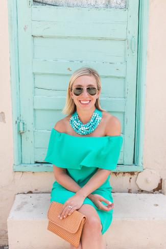 Women's Aquamarine Off Shoulder Dress, Tan Leather Clutch, Aquamarine Beaded Necklace