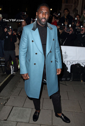 Idris Elba wearing Aquamarine Overcoat, Black Polo, Black Dress Pants, Black Leather Loafers