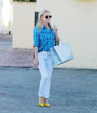 How to wear: aquamarine plaid dress shirt, white jeans, yellow leather pumps