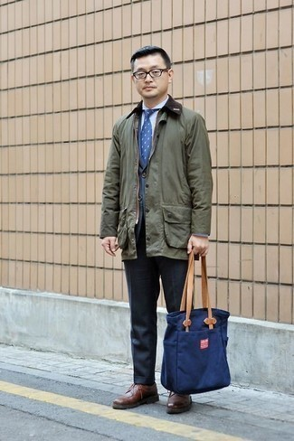How to Wear an Olive Barn Jacket: Make no doubt, you'll look clean and smart in an olive barn jacket and navy dress pants. If not sure about what to wear on the shoe front, add a pair of brown leather derby shoes to the equation.