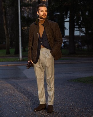Dark Brown Barn Jacket Outfits: Putting together a dark brown barn jacket with beige dress pants is an awesome option for a smart and refined outfit. On the footwear front, this getup pairs wonderfully with dark brown suede chelsea boots.