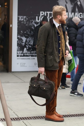 How to wear: olive barn jacket, navy wool blazer, tan wool waistcoat, white dress shirt