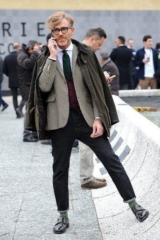 Charcoal Jeans Outfits For Men: An olive barn jacket and charcoal jeans will inject your daily styling routine this relaxed and dapper vibe. Put a different spin on your ensemble by rounding off with a pair of black leather double monks.