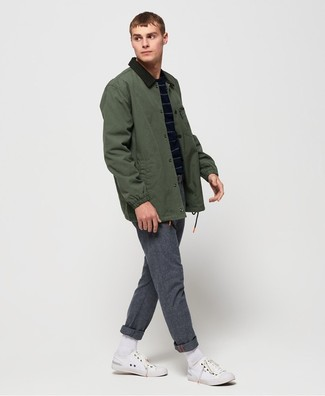 How to wear: dark green barn jacket, navy horizontal striped crew-neck sweater, grey wool chinos, white canvas low top sneakers
