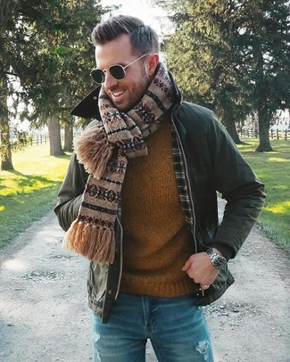 How to wear: dark green barn jacket, tobacco crew-neck sweater, blue ripped jeans, brown fair isle scarf