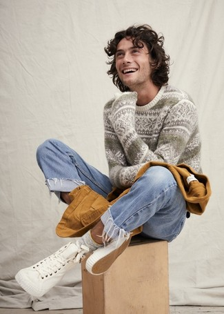How to wear: tobacco barn jacket, white fair isle crew-neck sweater, light blue jeans, white canvas high top sneakers