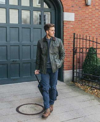 How to wear: olive barn jacket, navy crew-neck sweater, blue plaid long sleeve shirt, navy chinos