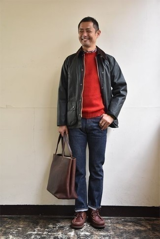 How to Wear a Brown Leather Tote Bag For Men: This casual combo of a black barn jacket and a brown leather tote bag is very easy to pull together in next to no time, helping you look amazing and ready for anything without spending too much time searching through your closet. You can stick to the classic route on the shoe front by slipping into brown leather casual boots.
