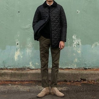 Black Crew-neck Sweater Outfits For Men: A black crew-neck sweater looks especially good when teamed with olive chinos in a laid-back ensemble. Make beige suede desert boots your footwear choice for maximum style.