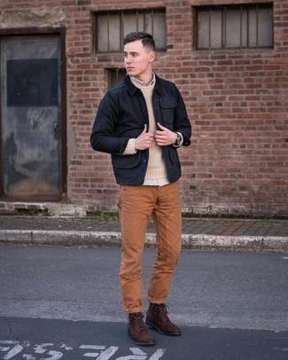 Men's Black Barn Jacket, Beige Crew-neck Sweater, Beige Long Sleeve Shirt, Tobacco Chinos
