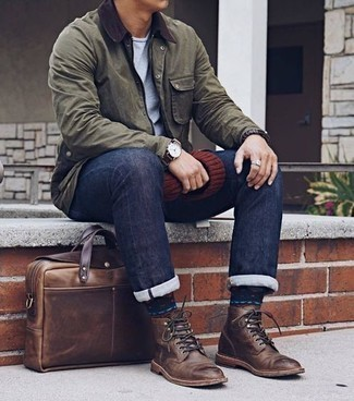 Brown Leather Casual Boots Outfits For Men: If you appreciate the comfort look, dress in an olive barn jacket and navy jeans. For extra style points, complement your look with brown leather casual boots.