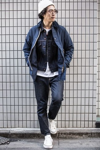 How to Wear White Socks For Men: You'll be amazed at how easy it is for any man to get dressed like this. Just a navy barn jacket and white socks. Why not introduce a pair of white canvas low top sneakers to the mix for an added touch of style?
