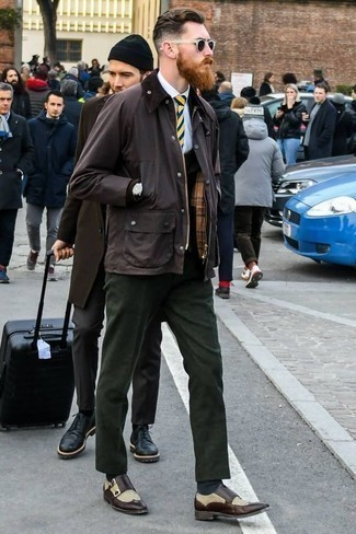 How to Wear Dark Green Dress Pants For Men: A dark brown barn jacket and dark green dress pants are essential in any gent's wardrobe. Dark brown leather double monks pull the outfit together.