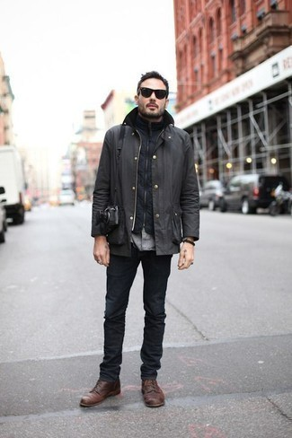Charcoal Barn Jacket Outfits: You'll be amazed at how super easy it is for any guy to get dressed this way. Just a charcoal barn jacket and charcoal jeans. Break up your outfit with a dressier kind of footwear, such as this pair of brown leather casual boots.