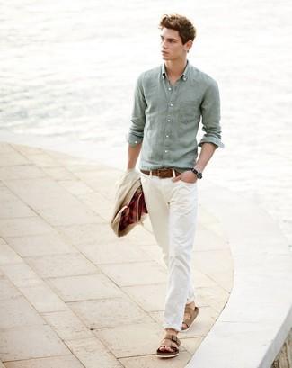 How to wear: beige barn jacket, mint linen long sleeve shirt, beige chinos, tan leather sandals