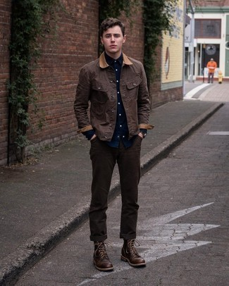 Dark Brown Chinos Outfits: To create a laid-back ensemble with a modern twist, you can opt for a dark brown barn jacket and dark brown chinos. Want to go all out in the shoe department? Introduce dark brown leather casual boots to this outfit.