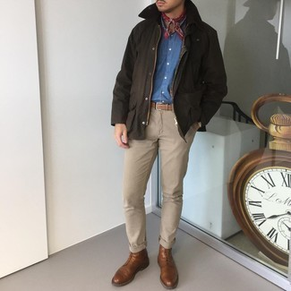 Dark Brown Barn Jacket Outfits: A dark brown barn jacket and khaki chinos are a great getup worth having in your casual lineup. Show off your sophisticated side by rounding off with a pair of brown leather casual boots.