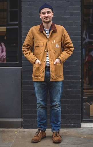 How To Wear a Long Sleeve Shirt With Casual Boots For Men: A long sleeve shirt and blue jeans are indispensable menswear staples if you're crafting an off-duty closet that matches up to the highest style standards. For something more on the dressier side to round off your ensemble, complement this outfit with a pair of casual boots.