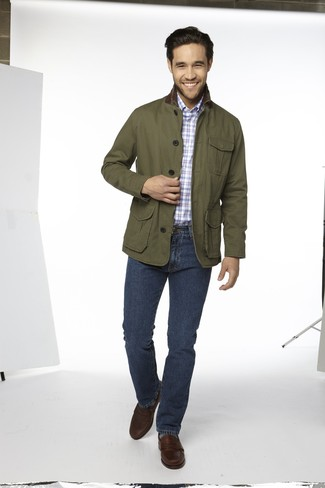 How to wear: olive barn jacket, light blue plaid long sleeve shirt, navy jeans, dark brown leather loafers