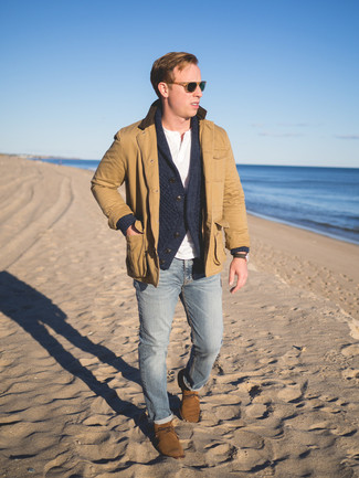 How to wear: tan barn jacket, charcoal shawl cardigan, white henley shirt, light blue skinny jeans