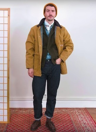 How to Wear an Olive Shawl Cardigan For Men: Opt for an olive shawl cardigan and navy jeans for standout menswear style. Dark brown leather desert boots are the glue that will bring this ensemble together.