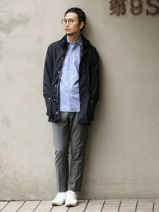 Black Barn Jacket Spring Outfits: To achieve a relaxed ensemble with a modern take, try pairing a black barn jacket with grey chinos. White athletic shoes will bring an easy-going touch to this ensemble. This combination is a wonderful choice come warmer weather.