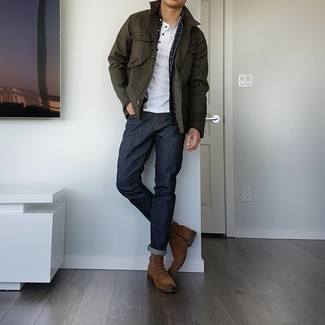 Brown Suede Casual Boots Outfits For Men: For an outfit that brings function and style, dress in an olive barn jacket and navy jeans. Brown suede casual boots will create a beautiful contrast against the rest of the look.