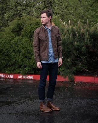 Dark Brown Leather Casual Boots Outfits For Men: This pairing of a dark brown barn jacket and navy jeans combines comfort and utility and helps keep it simple yet current. Complete this ensemble with a pair of dark brown leather casual boots to immediately rev up the wow factor of this getup.