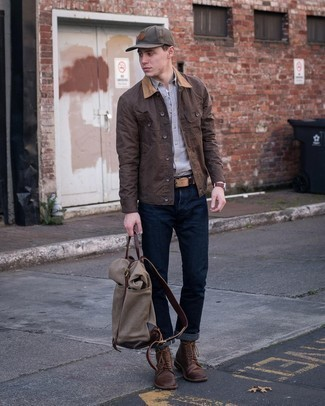 Men's Outfits 2021: Why not choose a dark brown barn jacket and navy jeans? As well as totally comfortable, these two pieces look amazing when married together. Here's how to dial it up: dark brown leather casual boots.
