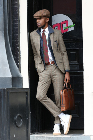 How to wear: navy barn jacket, grey plaid wool suit, white dress shirt, white high top sneakers