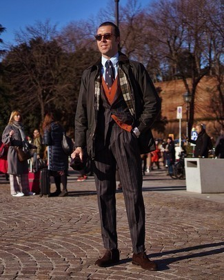 Black Vertical Striped Suit Outfits: This combination of a black vertical striped suit and a black barn jacket couldn't possibly come across other than devastatingly dapper and casually neat. A pair of dark brown suede oxford shoes easily boosts the style factor of any ensemble.