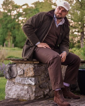 Dark Brown Barn Jacket Outfits: A dark brown barn jacket and dark brown chinos paired together are a perfect match. Get a bit experimental with footwear and complement your ensemble with a pair of dark brown suede casual boots.