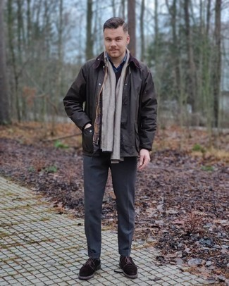 Dark Brown Barn Jacket Outfits: Go for a dark brown barn jacket and charcoal dress pants for a proper classy ensemble. The whole ensemble comes together really well when you complete your ensemble with a pair of dark brown suede derby shoes.