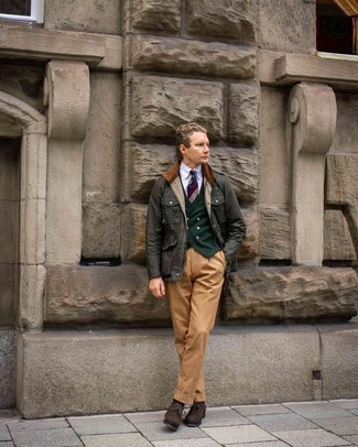 Coat Outfits For Men: This combo of a coat and tobacco dress pants exudes class and sophistication. A pair of dark brown suede brogues easily turns up the wow factor of this look.