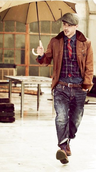How to wear: brown leather barn jacket, purple plaid waistcoat, charcoal long sleeve shirt, black jeans