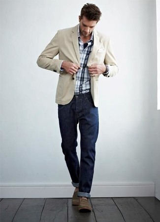 Men's Beige Cotton Blazer, Navy Jeans, Brown Boots, and White and Navy ...